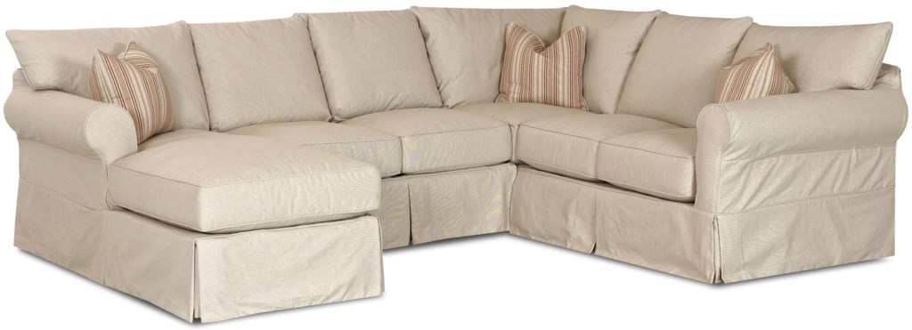 Klaussner Jenny Slip Cover Sectional Sofa With Left Chaise Dunk  ~ Slipcover For Sectional Sofa With Recliners