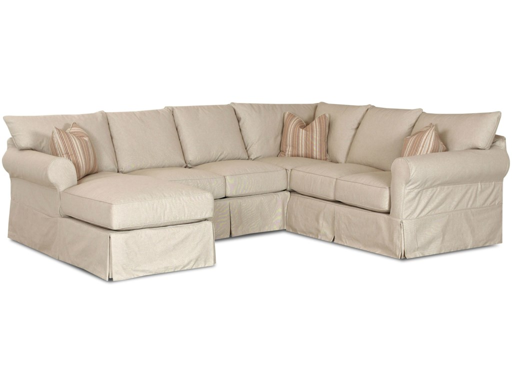 Klaussner Jenny Slip Cover Sectional Sofa with Left Chaise ...