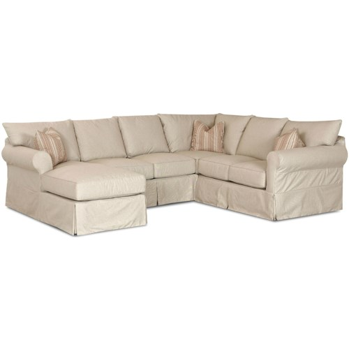 Klaussner Jenny Slip Cover Sectional Sofa with Left Chaise