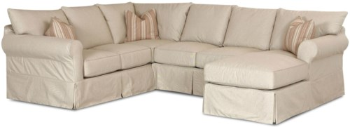 Klaussner Jenny Slip Cover Sectional Sofa With Right Chaise Turk