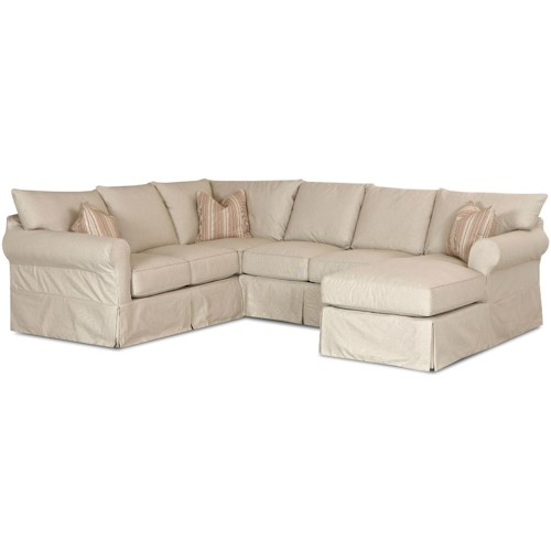 Klaussner Jenny Slip Cover Sectional Sofa with Right Chaise