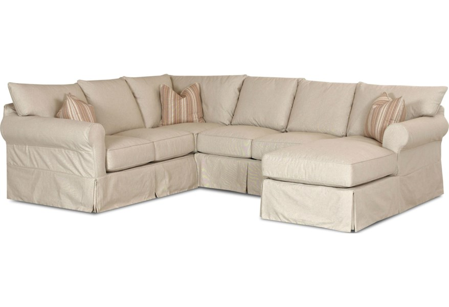 Klaussner Jenny Slip Cover Sectional Sofa with Right Chaise ...