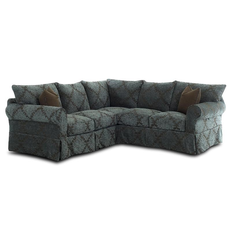 Klaussner Jenny Slipcover Sectional With Rolled Arms And Skirt | Darvin  Furniture | Sectional Sofas