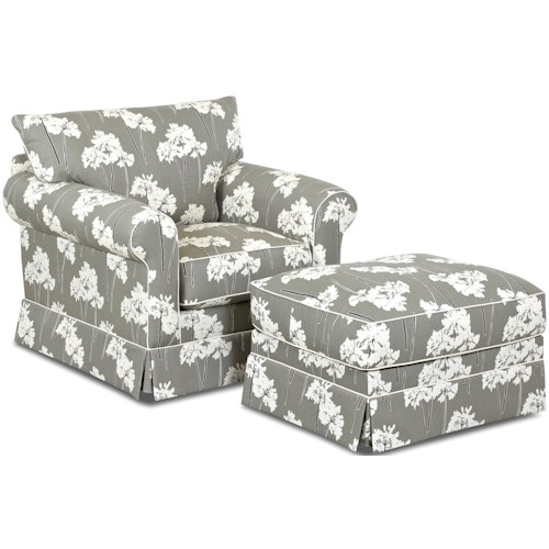 Klaussner Jenny Transitional Skirted Chair and Ottoman Set