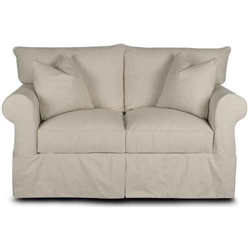Klaussner Jenny Slipcover Loveseat with Rolled Arms and Skirt