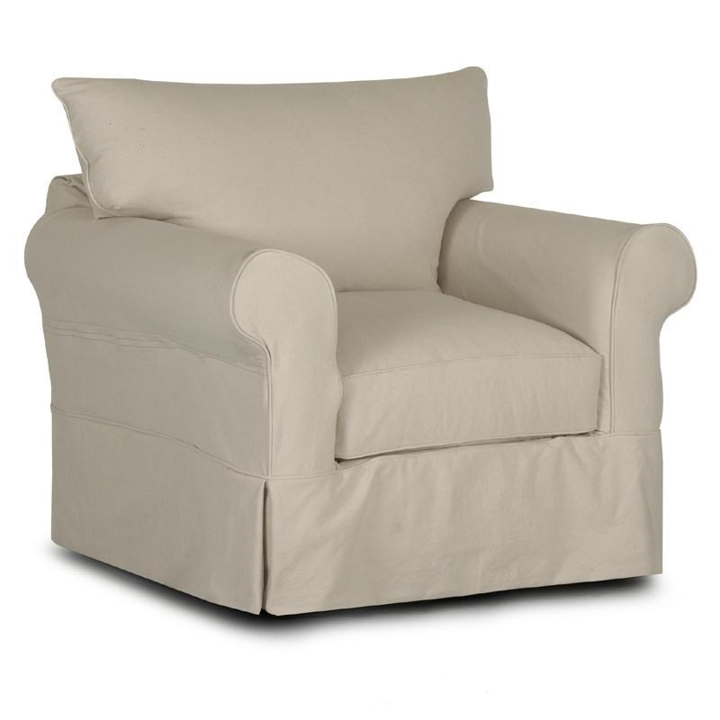 Klaussner Jenny Slipcover Chair With Rolled Arms And Skirt | Novello Home  Furnishings | Upholstered Chairs