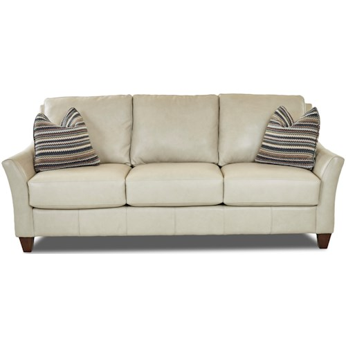 Klaussner Joanna Contemporary Leather Sofa with Toss Pillows