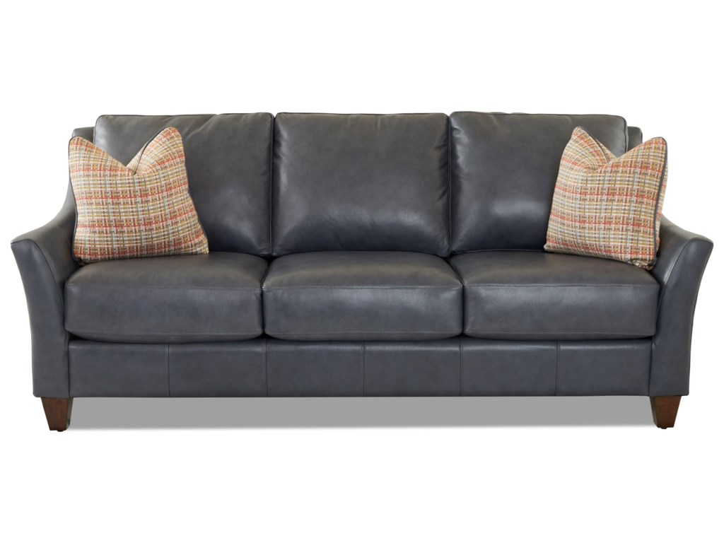 Joanna Contemporary Leather Sofa with Toss Pillows by Klaussner at Dunk &  Bright Furniture