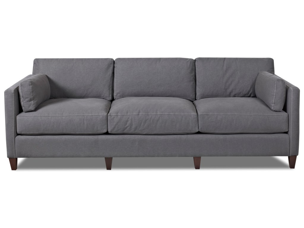 Klaussner Jordan D92500 S Contemporary Tuxedo Back Sofa With Bolster