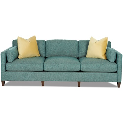 Klaussner Jordan Contemporary Tuxedo Back Sofa with Bolster Pillows and Toss Pillows