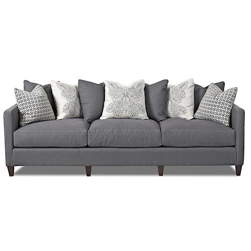 Klaussner Jordan Large 3 Cushion Tuxedo Arm Sofa with Scatterback