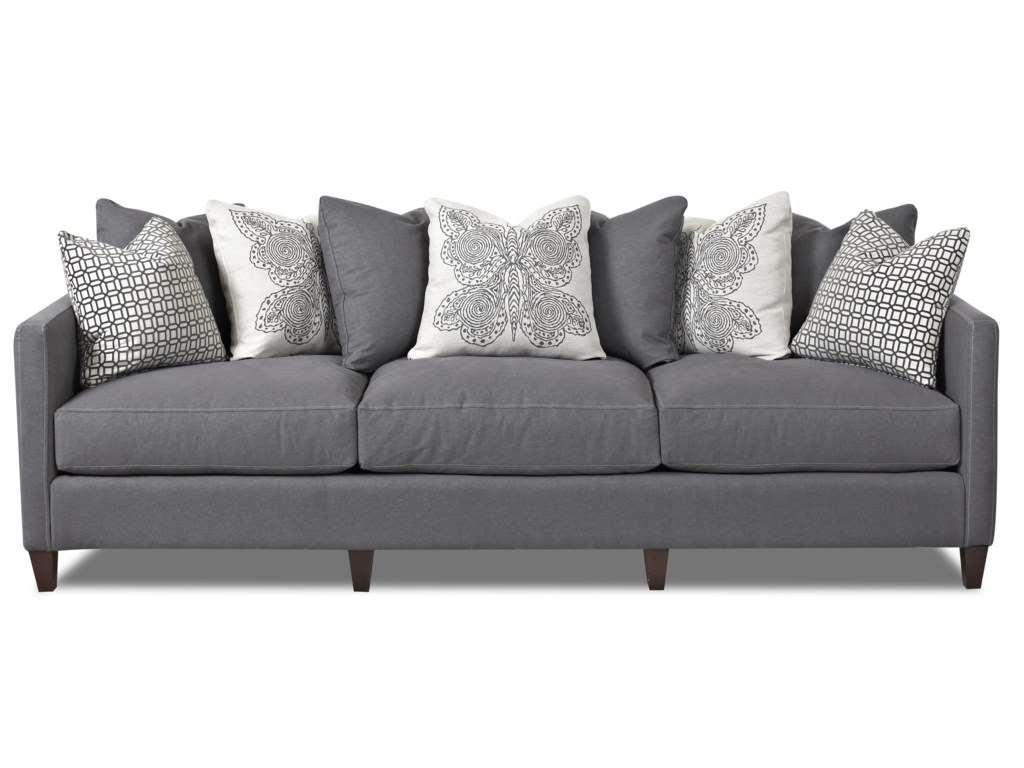 Jordan Large 3 Cushion Tuxedo Arm Sofa With Scatterback By Klaussner At Wayside Furniture