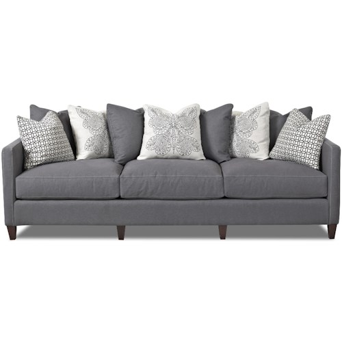 Klaussner Jordan Large 3 Cushion Tuxedo Arm Sofa with Scatterback