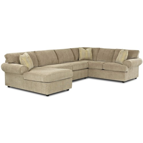Klaussner Julington Transitional Sectional Sofa with Rolled Arms and Left Chaise and Full Sleeper
