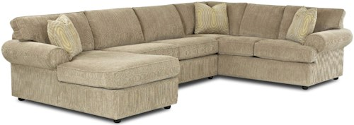 Klaussner Julington Transitional Sectional Sofa with Rolled Arms and Left Chaise and Full Dreamquest Sleeper