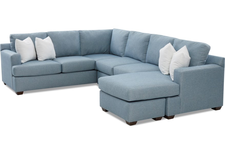 Juniper 5-Seat Sectional Sofa with RAF Chaise Ottoman by Klaussner at Dunk  & Bright Furniture