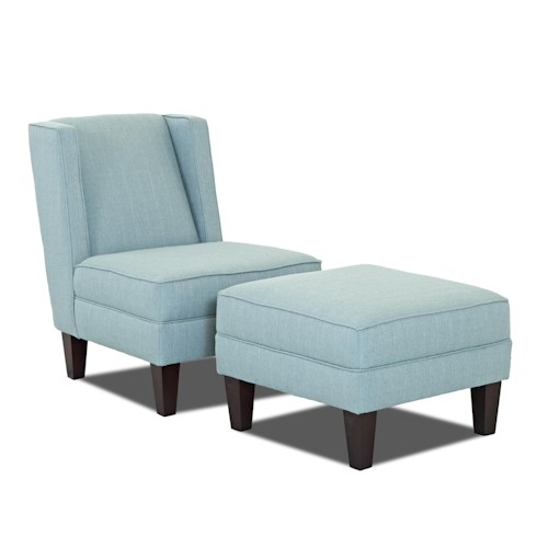 Klaussner Kaitlyn Transitional Armless Occasional Chair and Ottoman Set