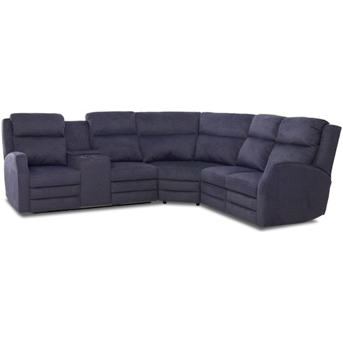 Klaussner Kamiah Four Seat Power Reclining Sectional Sofa with Cupholder Storage Console and USB Charging Ports