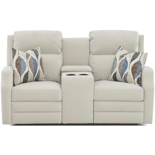 Klaussner Kamiah Power Reclining Console Loveseat with USB Charging Ports, Power Headrests, Toss Pillows