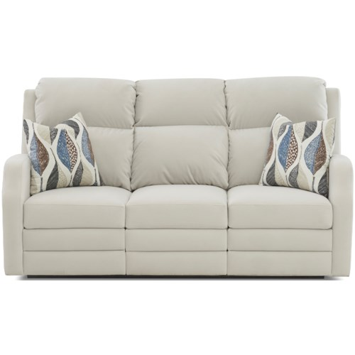 Klaussner Kamiah 77 Inch Power Reclining Sofa with USB Charging Ports and Pillows