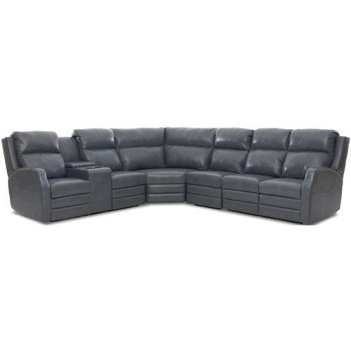 Klaussner Kamiah Four Seat Reclining Sectional Sofa with Cupholder Storage Console