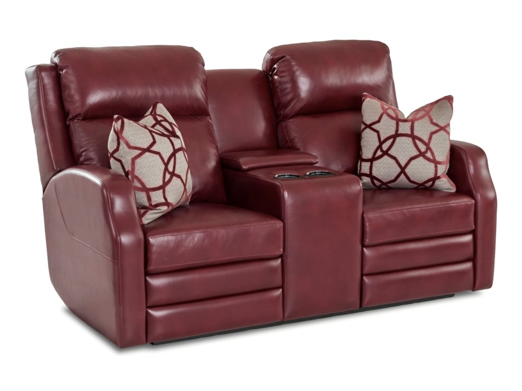 Klaussner KamiahConsole Reclining Loveseat w/ Pillows