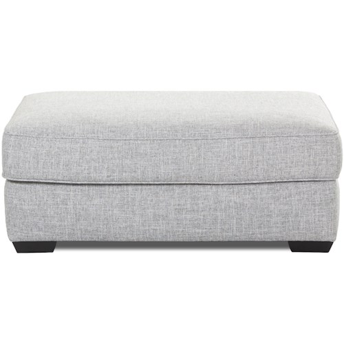 Klaussner Kearns Contemporary Ottoman with Down-Blend Cushion