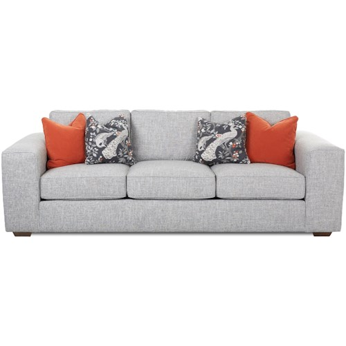 Klaussner Kearns Contemporary Sofa with Accent Pillows & Down-Blend Cushions