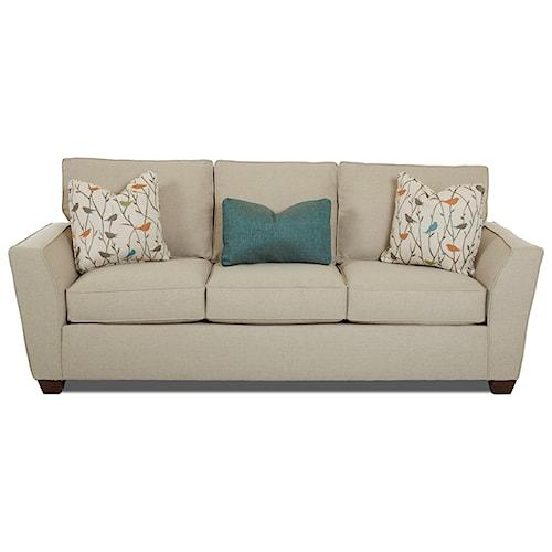 Klaussner kent casual sofa with flared arms pilgrim for Klaus k living room brunssi