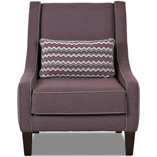 Klaussner Chairs and Accents Matrix Accent Chair with Kidney Pillow and Welt Trim
