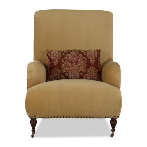 Klaussner Chairs and Accents Dapper Accent Chair with Front Leg Casters