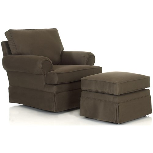 Klaussner Chairs and Accents Carolina Rolled Arm Chair With Ottoman