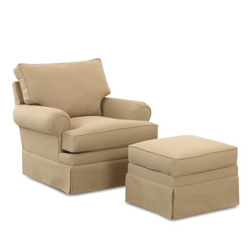 Klaussner Chairs and Accents Carolina Glider Chair with Gliding Ottoman