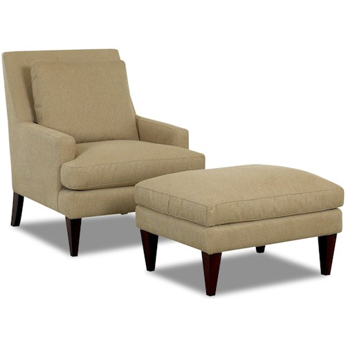 Klaussner Chairs and Accents Townsend Accent Chair and Ottoman Group