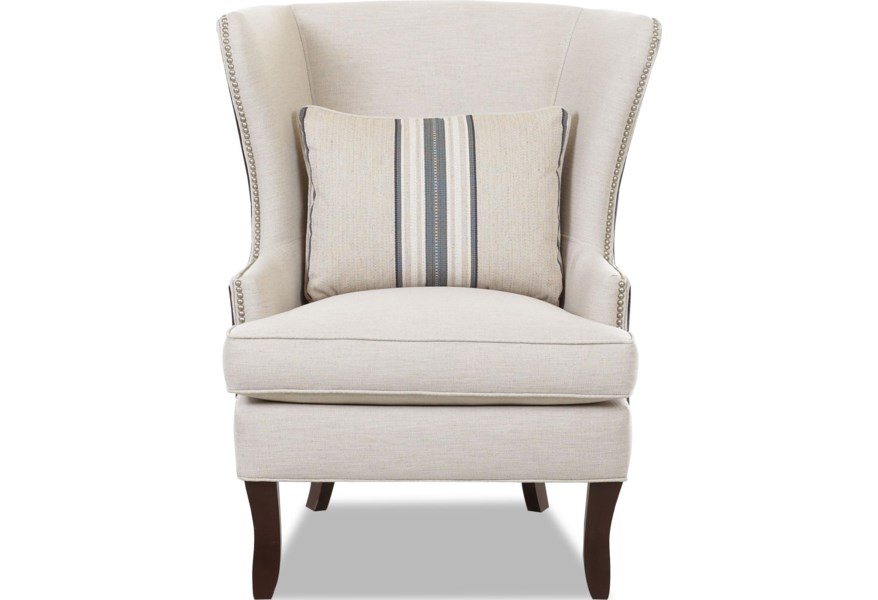 Accent Chairs.Klaussner Chairs And Accents D9410 C Transitional Krauss Wing