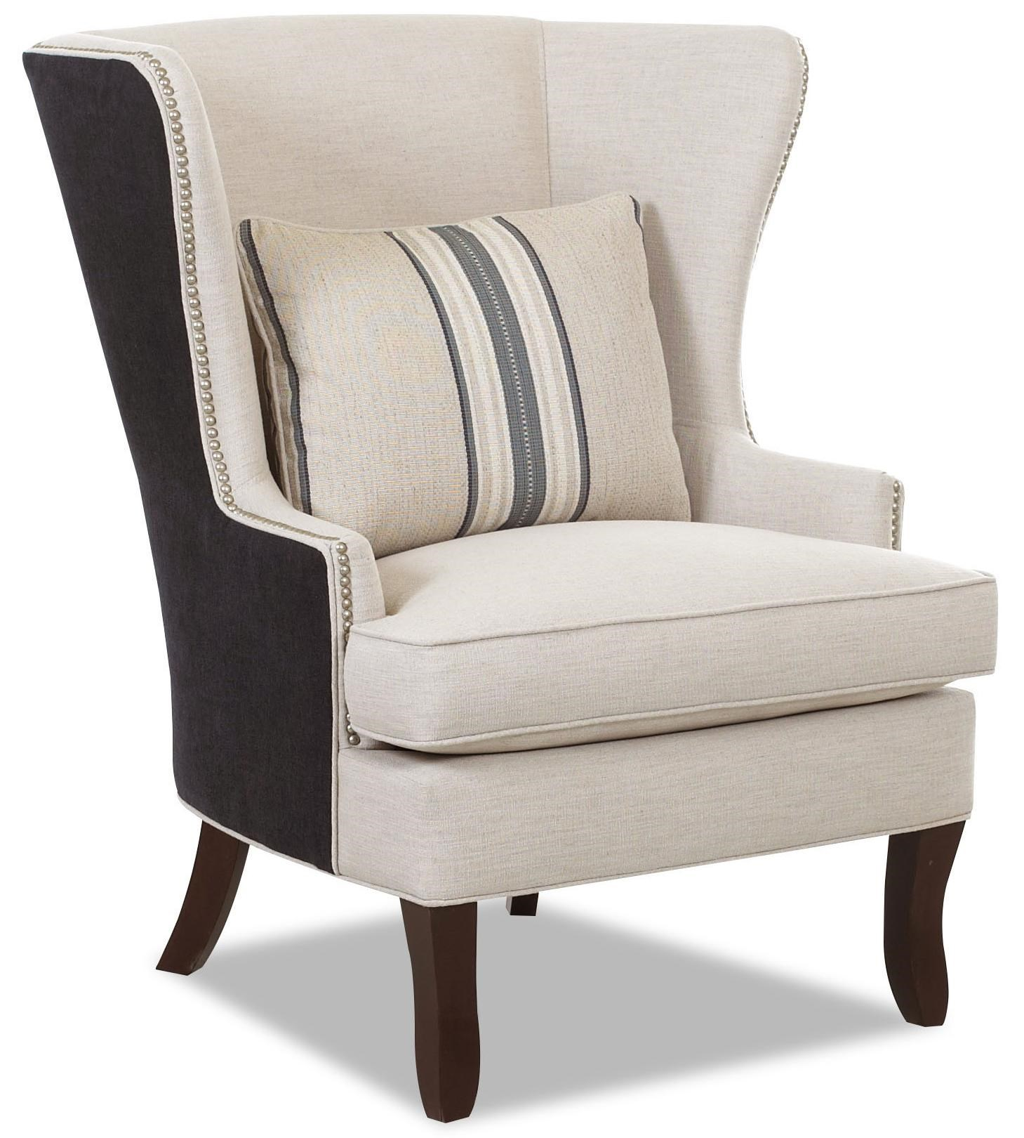 Chairs And Accents D9410 C Transitional Krauss Wing Chair With Nail Head  Trim By Klaussner