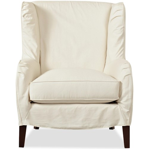 Klaussner Chairs and Accents Polo Transitional Slipcover Wing Chair