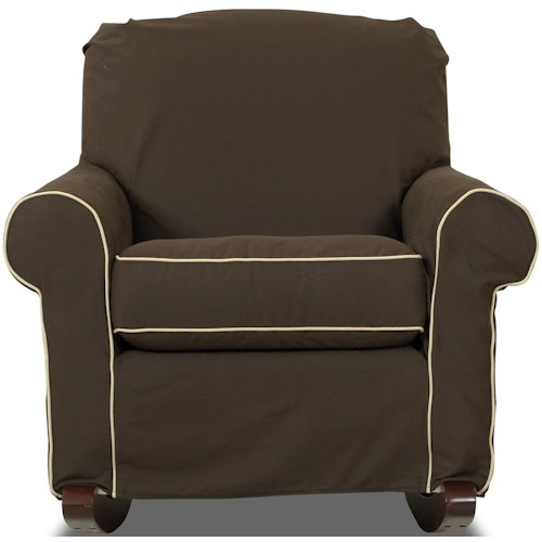 Klaussner Chairs and Accents Old Town Upholstered Rocking Chair with Slip Cover