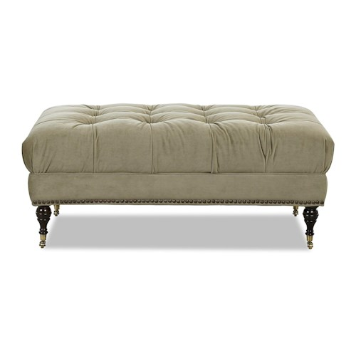 Klaussner Chairs and Accents Hilda Accent Ottoman with Tufting and Nailhead Trim
