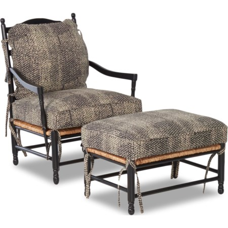 Homespun Accent Chair and Ottoman Set
