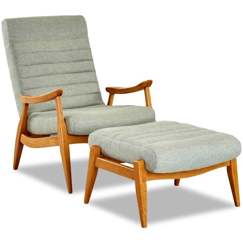Klaussner Chairs and Accents Hans Mid-Century Modern Chair and Ottoman with Exposed Wood Frame