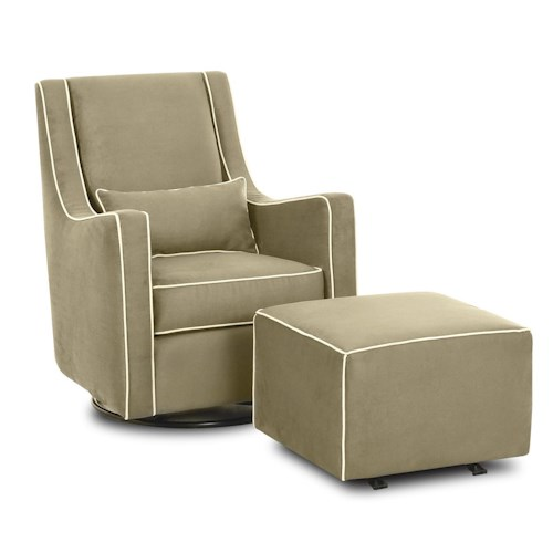 Klaussner Chairs and Accents Contemporary Lacey Swivel Glider Chair and Ottoman Set