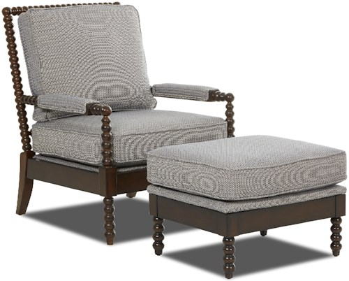 Klaussner Chairs and Accents Rocco Accent Chair and Ottoman Set with Spool-turned Legs