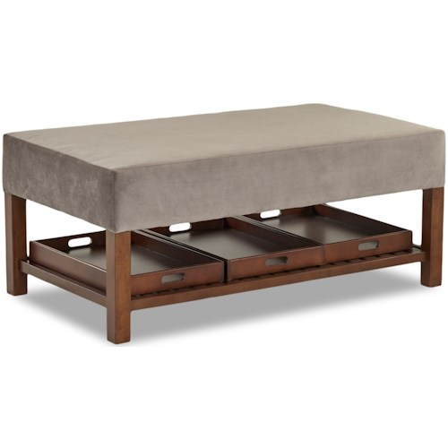 Klaussner Chairs and Accents Rectangular Storage Ottoman with Three Removable Trays