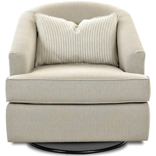 Klaussner Chairs and Accents Devon Swivel Glide Chair with Pillow