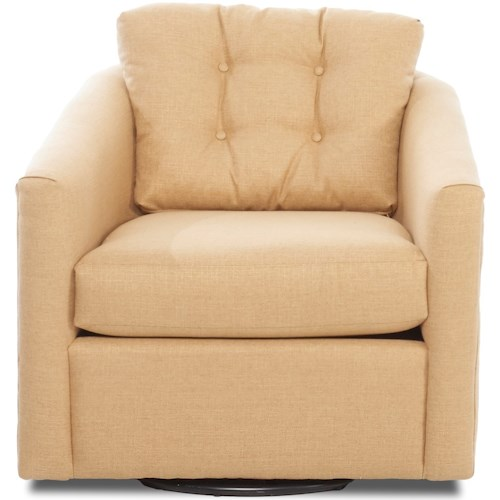 Klaussner Chairs and Accents Piedmont Casual Swivel Chair with Button Tufting