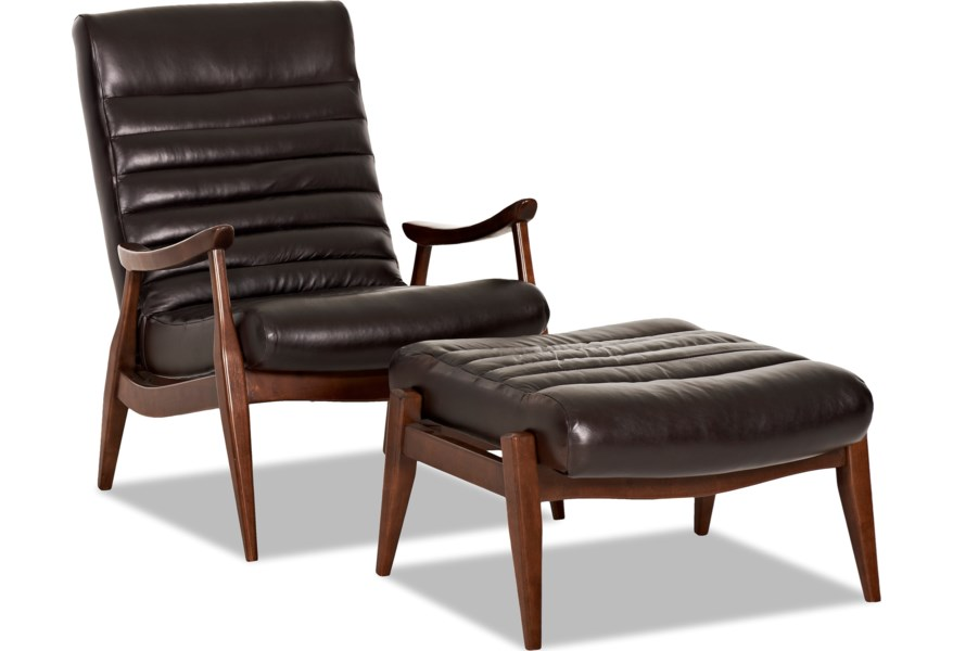 Chairs And Accents Hans Mid Century Modern Chair Ottoman With Exposed Wood Frame By Klaussner At Dunk Bright Furniture