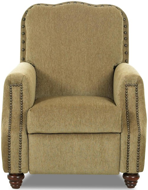 Klaussner High Leg Recliners Gabby High Leg Recliner with Nailhead Trim