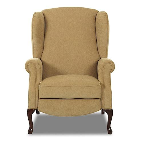 Klaussner High Leg Recliners Mahogany High Leg Reclining Chair
