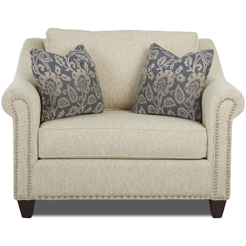 Klaussner Langley Big Chair with Nailhead Trim